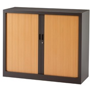 Low tambour cabinet monobloc Généric 100 x 120 anthracite body - light oak