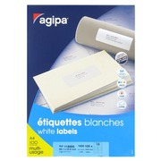 Box of 1600 address labels Agipa 118985 white 99,1 x 33,9 mm for laser and inkjet