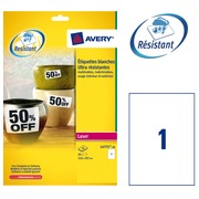 Box of 20 super strong labels Avery L 4775 210 x 297 mm white for laser printer
