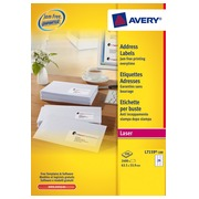 Box of 2400 address labels Avery white L7159-100 63,5 x 33,9 mm for laser printer