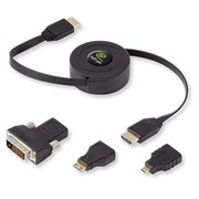 Intrekbare male HDMI kabel met adapter voor mini HDMI, micro-HDMI en DVI