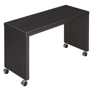 Mobile side table Shiny W 100 x D 40 cm plate ebony black base full wood