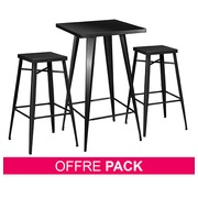 Pack Ibiza black - 1 reception table + 2 stools