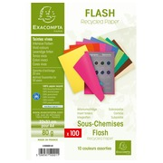 Pack of 100 insert folders FLASH 80 100% recycled - 22x31cm - Assorted colours (150001E)