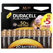 15 AA alkaline batterijen - LR6 Duracell Plus Power + 5 gratis