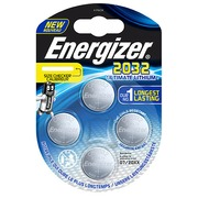 Knoopbatterij Ultimate Lithium CR 2032 Energizer - blister van 4 batterijen