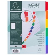 Dividers A4 cardboard 160 g Exacompta 6 neutral and rewritable tabs multicolored - 1 set