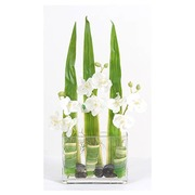 Bouquet artificial flowers with 3 moon orchids 50 cm